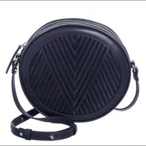 "Lili Radu Bags - Lili Radu ""V"" Circle Bag Purse Round Navy Leather"